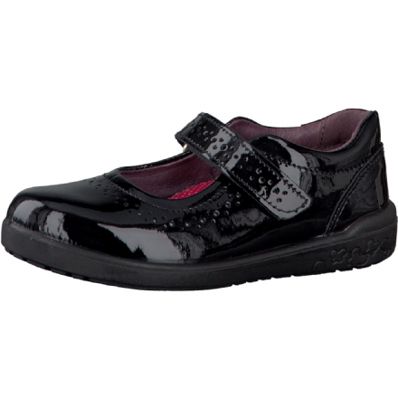 Ricosta LILLIA Leather Velcro Mary Jane School Shoes (Black Patent)